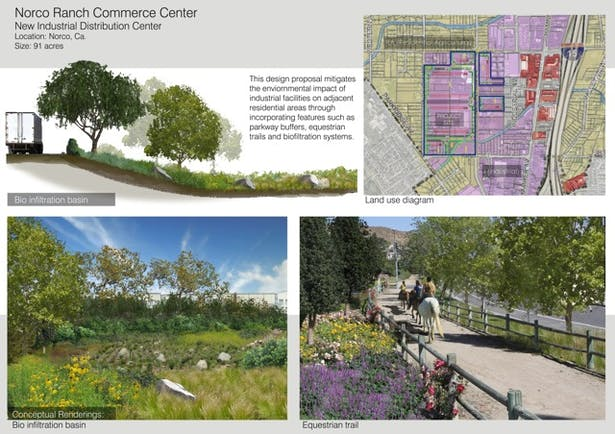 A complex project that involved integrating industrial facilities with adjacent residential neighborhoods. Incorporated bioswales and parkway buffers to meet both the client and community's need.