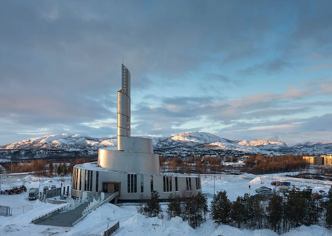 Exterior photo of the new Cathedral of the Northern Lights in Alta, Norway, designed by Link Arkitektur in collaboration with schmidt hammer lassen architects and Haldde Arkitekter Inc. (Photo: Adam Mørk)
