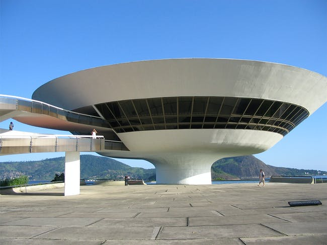 The Niterói Contemporary Art Museum, Rio de Janeiro, completed in 1996