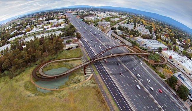 Team 64North's winning proposal for the new Palo Alto Pedestrian & Cyclist Bridge in Palo Alto, California. Image © 64North