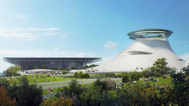 A render of the proposed museum. Credit: Lucas Museum of Narrative Art