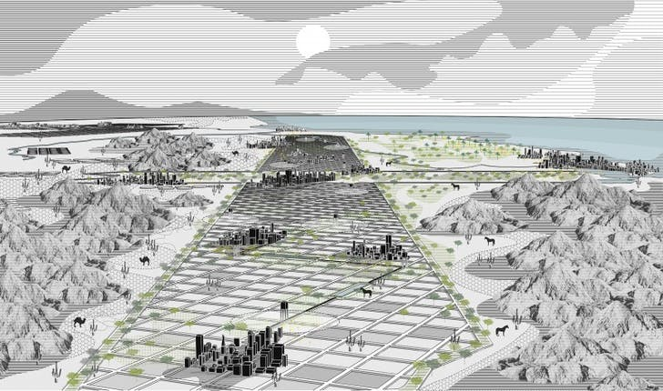 An image from 'Apart, We are Together', a submission to Archinect's Dry Futures competition. Credit: DESIGN EARTH