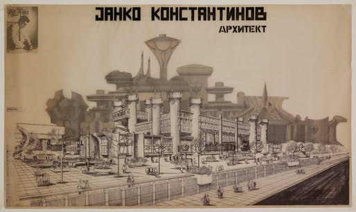 Janko Konstantinov, Telecommunications Center, 1972-81, Skopje, Macedonia. Perspective drawing of the counter hall. Ozalid and tracing paper.