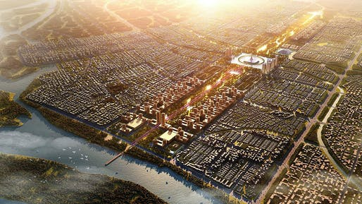 Amaravati Master Plan rendering by Foster + Partners. Image: Foster + Partners.