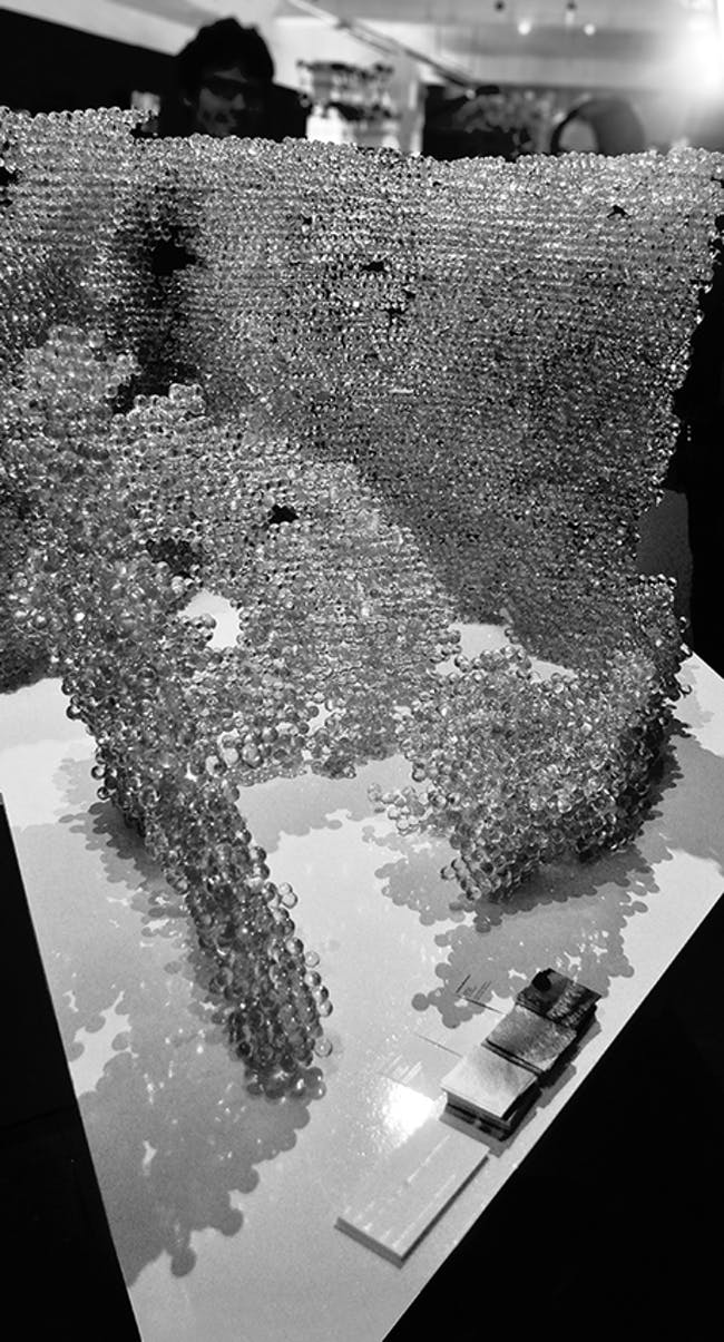 crystalCloud - physical model 70 000 glass spheres - robotic fabrication via Joanna Theodosiou
