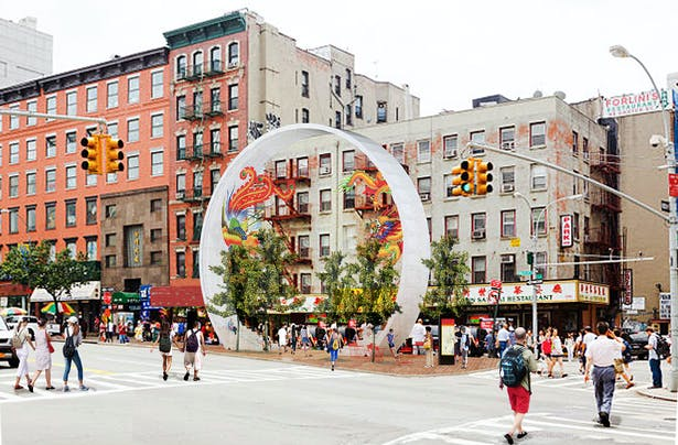 The circular form captures the urban life of the traffic triangle. It frames the passer-bys, the ginko trees that form an urban garden, and the festive banners that seasonally decorate its interior.