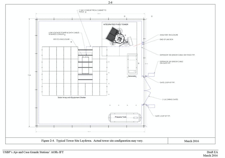 Elevation and plan of integrated fixed towers. Images from Department of Homeland Security.