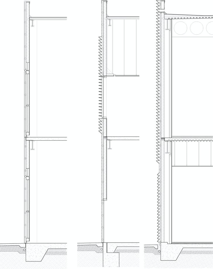 Wall sections. Illustration courtesy of Trahan Architects