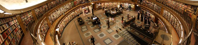 Interior panorama from third gallery, Stockholm Public Library