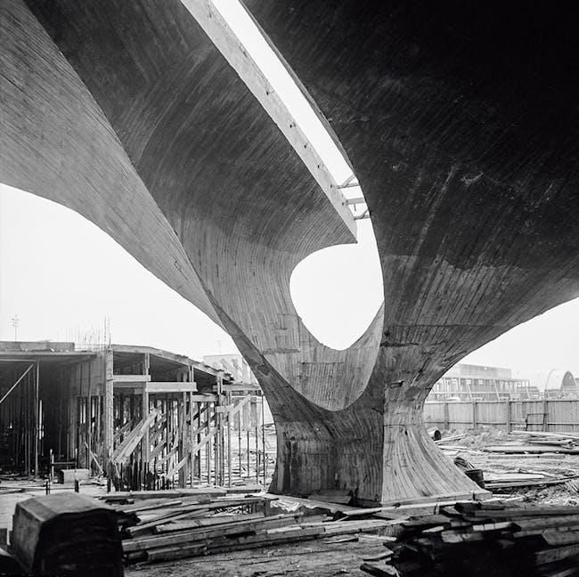 The TWA Flight Center or Trans World Flight Center (under construction) designed by Eero Saarinen