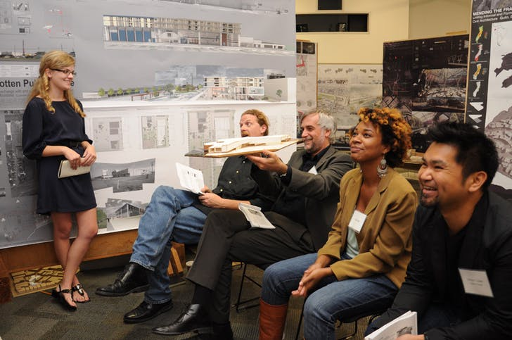 Students present their work to a panel of faculty and outside critics. Image courtesy of Tulane School of Architecture.