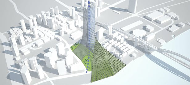 The core is literally a 'skyscraper into the skyscraper'. This empty space allows the air to pass through the trees situated at the ground floor towars the center of VetiVertical City. This flow of air and light will improve air quality inside the building and will contribute to illuminate the new park under the skyscraper
