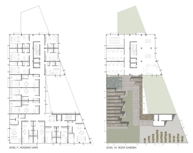 Typical Floor Plan in Cantilever and Roof Garden on Cantilever