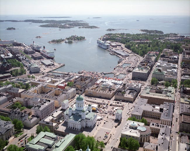 Helsinki's South Harbor, with the competition site on the right hand. Image via nexthelsinki.org