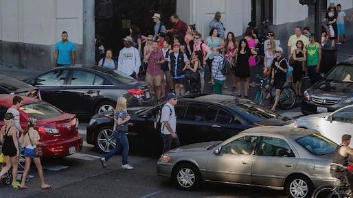 The intersection of Hollywood and Highland boulevard, one of the deadliest for pedestrians in Los Angeles (photo by Gina Ferazzi / Los Angeles Times)