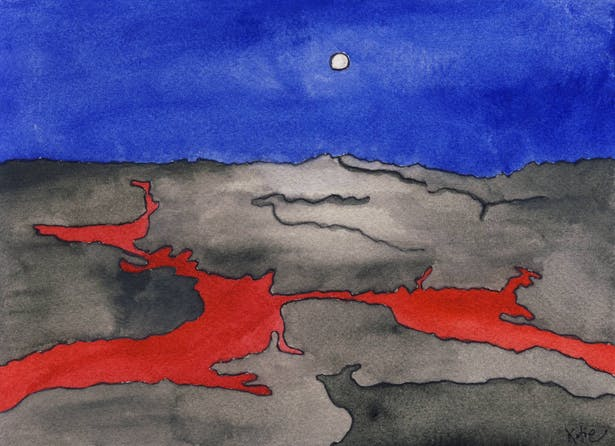Conceptual water color- Lava Flow