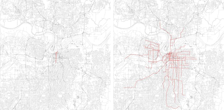 Left: The area of Kansas City's smart city project, along Kansas City's new streetcar starter line. Right: The extent of Kansas City's streetcar system in the early 20th century. Image: Andrew Bruno