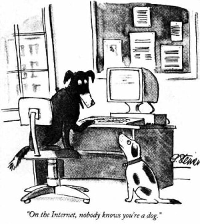 Peter Steiner's cartoon, as published in The New Yorker. Image via Wikipedia.