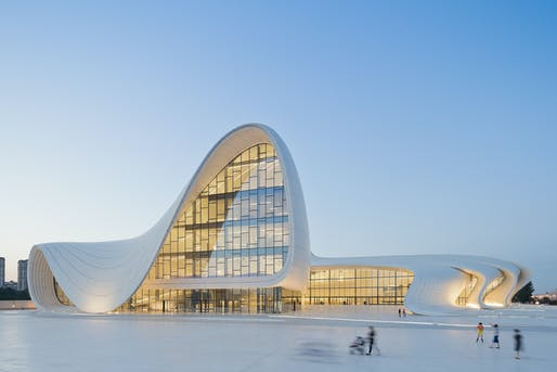 ARCHITECTURE: HEYDAR ALIYEV CENTER, BAKU, AZERBAIJAN. Designed by Zaha Hadid and Patrik Schumacher. Photo courtesy of Designs of the Year 2014.