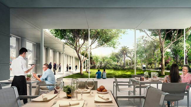 The Leonard and Evelyn Lauder Dining Pavilion at the Norton Museum of Art, designed by Foster + Partners. (Image courtesy of Foster + Partners)