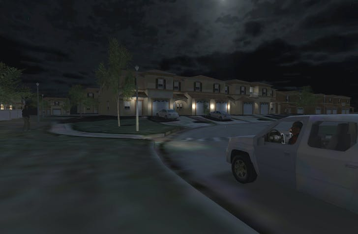 A still from 'One Dark Night,' recreating the scene of Trayvon Martin's death. Credit: Emblematic Group