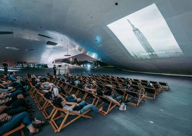 Silent movie night, Tai Chi, Yoga, dancing classes, children activities - the Banyan Plaza becomes the living room of Kaohsiung. Image by National Kaohsiung Center for the Arts (Weiwuying).