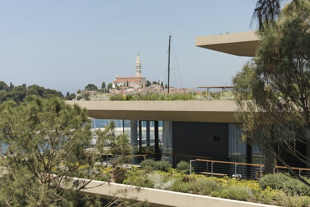 Green terraces of the apartments and the pool area overlooking the city