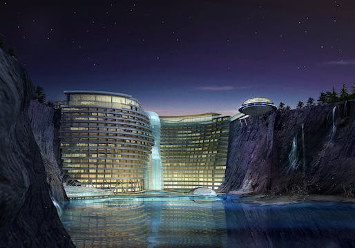 Between a rock and a soft place: the InterContinental Shanghai Wonderland opens in Songjiang, China next month. Image courtesy of Atkins.