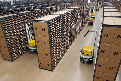 A view of the company's automated distribution facility. Image courtesy of Material Bank.