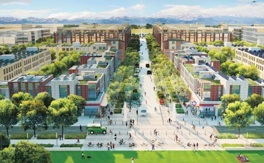 artist rendering shows Peña Station Next in Denver, where Solar Decathlon 2017 will take place exactly one year from today. | Image courtesy of City and County of Denver