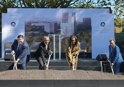 Barack Obama joined by wife and former First Lady Michelle Obama, Illinois Governor J.B. Prtizker, and Chicago Mayor Lori Lightfoot. Image: The Obama Foundation