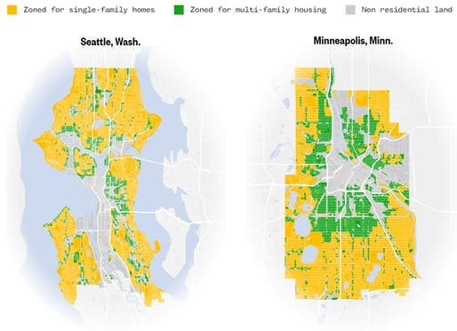 Seattle, with 70% zoned for single-family vs Minneapolis, which ended single-family zoning in 2018. Sources: City of Seattle and City of Minneapolis Graphic: Jiachuan Wu and Jeremia Kimelman / NBC News