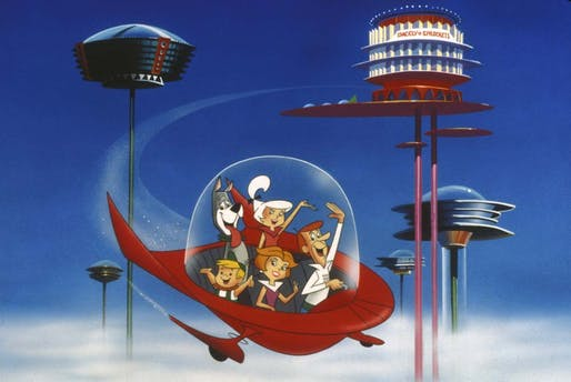 The Jetsons flying through Orbit City, from the animated cartoon created by Hanna-Barbera. Image courtesy of PICTURELUX/THE HOLLYWOOD ARCHIVE