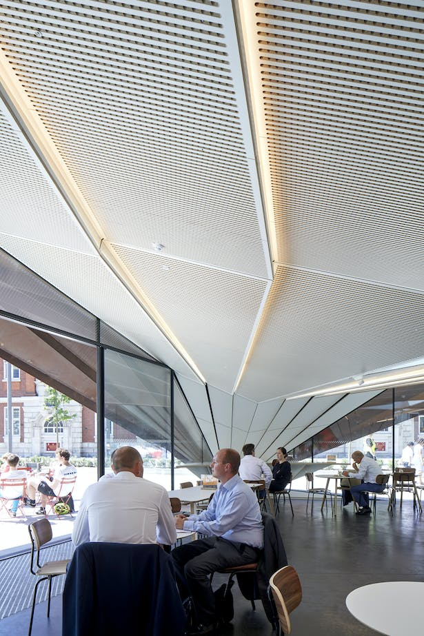 The internal soffit mimics the external form