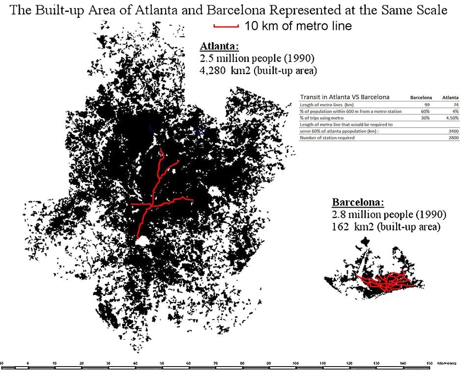 Wowza Scale Maps Of Barcelona And Atlanta Show The Waste Of Sprawl