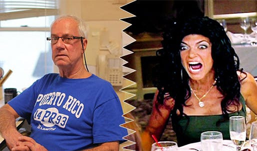 """It's offensive:"" Architect John Fellgraff (left) is furious that—supposedly—bankrupt 'New Jersey Housewife' Teresa Giudice (right) won't pay him for his services but can afford a $90,000 Lexus SUV as a getting-out-of-jail gift. (Photos: Joe Donnelly/Dailymail.com; Bravo)"