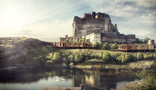 Visitor Centre and Knowledge Center at Mehrangarh Fort (View from the lake) Image © Studio Lotus
