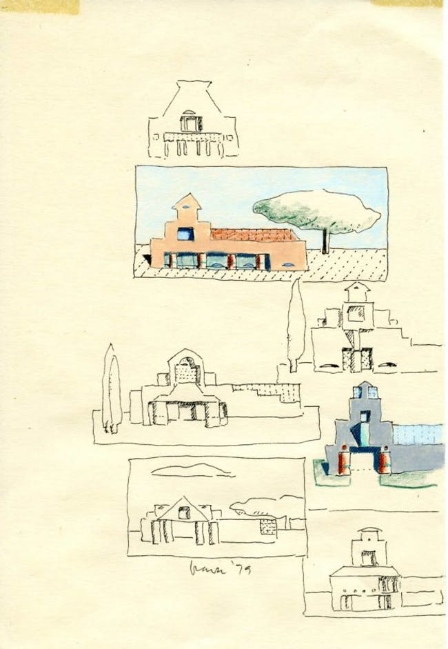 Drawing by Michael Graves, Sketchbook drawing, 1979. Pen, colored pencil, and oil pastel on paper. Image from the Estate of Michael Graves via the Princeton University Art Museum