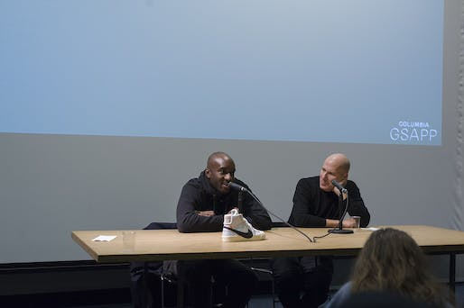 "Virgil Abloh and Michael Rock at Columbia GSAPP. <a href=""https://commons.wikimedia.org/wiki/File:Virgil_Abloh_and_Michael_Rock_at_Columbia_GSAPP.jpg"">Wikimedia Commons</a>."