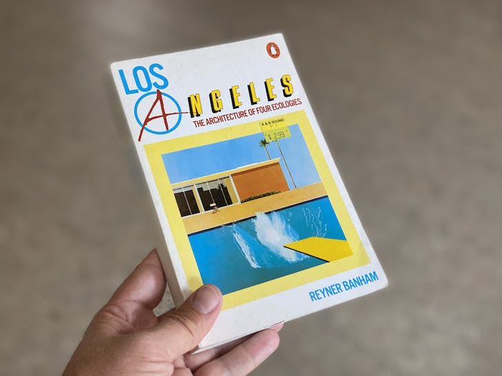A copy of the mid-1980s Pelican paperback edition of Los Angeles: The Architecture of Four Ecologies, from Archinect's private library.
