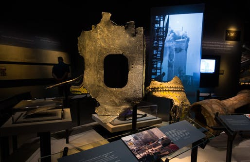 Airplane fragments displayed at the Sept. 11 museum. (Credit: Damon Winter/The New York Times)