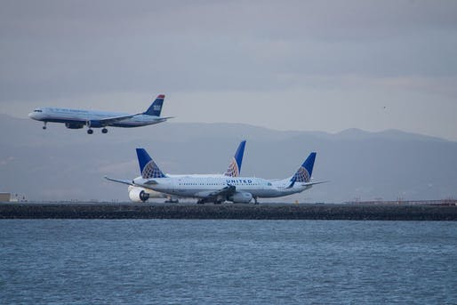 Photo of SFO's runways. Image courtesy of Wikimedia user Bill Abbott.