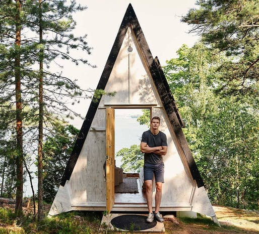 Lauri Markkanen stands by a Nolla Cabin. All images courtesy of Neste