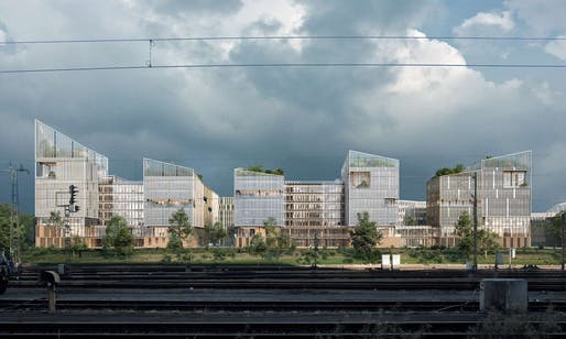 Henning Larsen Architects' winning design for NØRR in Saint-Denis, France. Image courtesy of Henning Larsen Architects.
