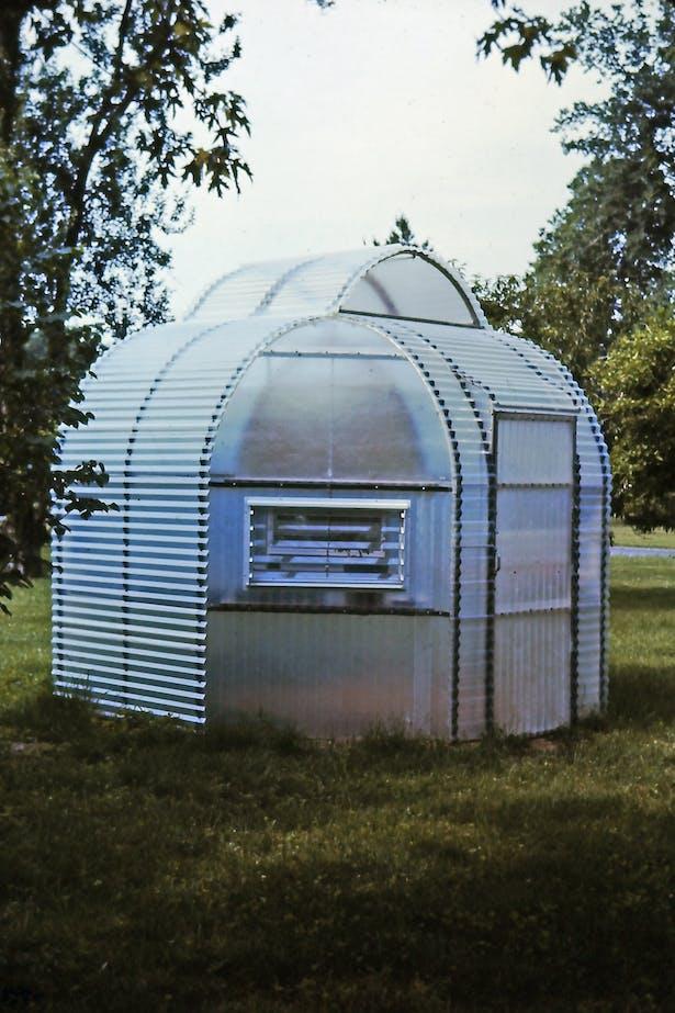 Prefabricated, modular, backyard greenhouse, 1974.