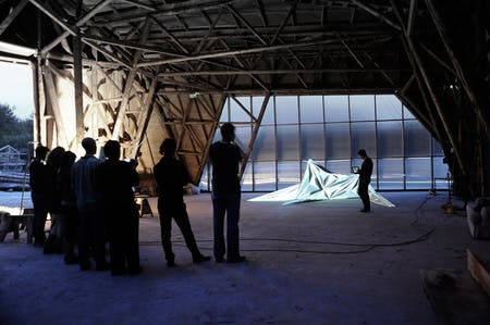 Fallen Star in action / user interaction with video mapping through iPad (Photo: Architectural Association)