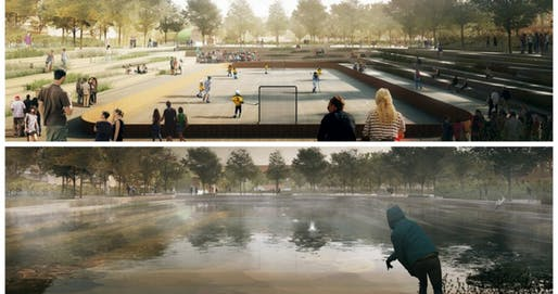 Copenhagen's new Enghaveparken will have spaces that can host sporting events during dry weather and fill with water during heavy rains. (COWI, TREDJE NATUR and Platant). Info via citiscope.org