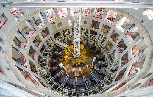 "A look inside the under-construction ITER Tokamak Building. Image via VINCI/<a href=""https://twitter.com/VINCI/status/1192765379354988544"">Twitter</a>"