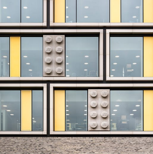 Brick and brick: facade detail of the new C.F. Møller-designed LEGO Group campus buildings. Courtesy of LEGO Group