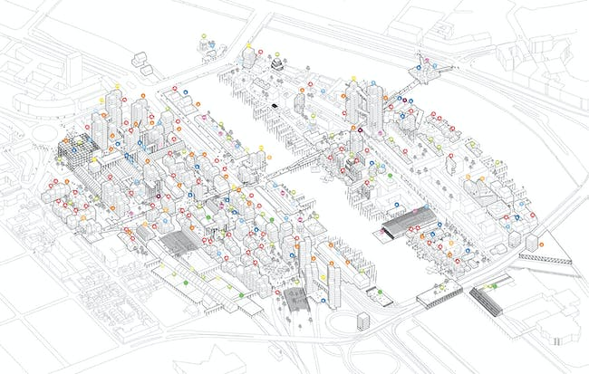 Axonometric of 'On the move' by Bluefoamit for Europan 12 France, Rouen. Image courtesy of Bluefoamit